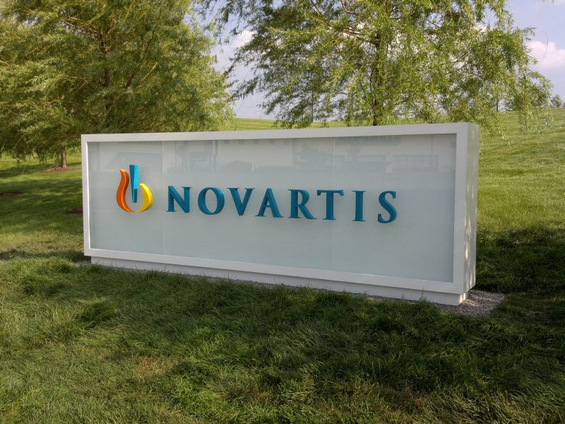 Novartis Exterior Glass Monument Sign